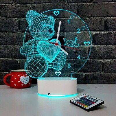 - 3 Boyutlu Ayıcıklı LED Lamba Saat