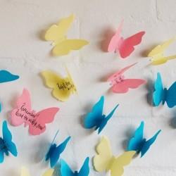 - 3 Boyutlu Kelebek Yapışkanlı Notluk
