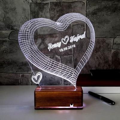 - 3 Boyutlu LED Lamba Kişiye Özel Kalpli