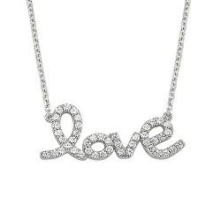 925 Ayar Love Gümüş Kolye - Thumbnail