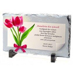 - Anneler Gününe Özel Mesajlı Taş Baskı
