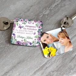 - Anneye Özel Mesaj ve Fotoğraflı Anahtarlık