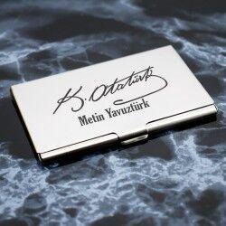 - Atatürk İmzalı İsme Özel Metal Kartvizitlik