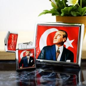 - Atatürk Resimli Çakmak ve Sigara Tabakası