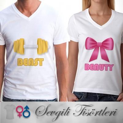 - Beast And Beauty Sevgili Tişörtleri