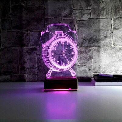 - Çalar Saat Tasarımlı 3 Boyutlu LED Lamba