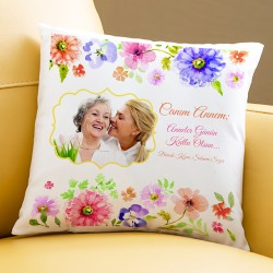 - Çiçek Annelere Özel Fotoğraflı Yastık