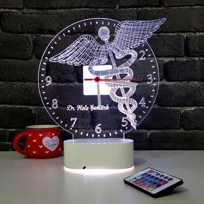 - Doktor Amblemi 3D LED Lamba Saat