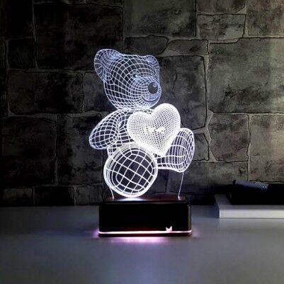 - Elinde Kalp Taşıyan Sevimli 3D Led Lamba Ayıcık