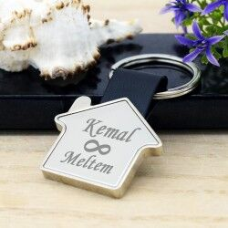 - Ev Tasarımlı Sonsuz Aşk İsime Özel Anahtarlık