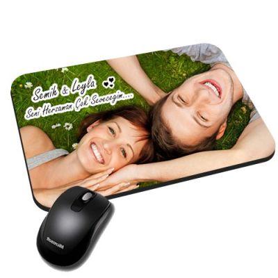 - Fotoğraflı İsim ve Mesaj Baskılı Mouse Pad