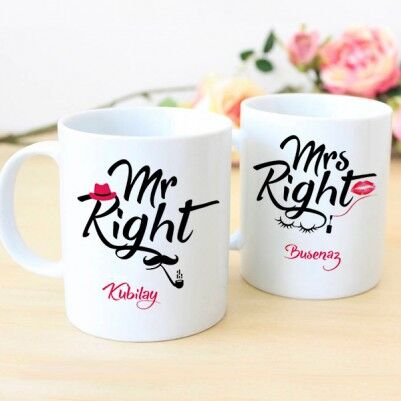 - İsme Özel Mr And Mrs Right Kupaları