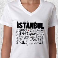 - İstanbul Temalı Baskılı Bayan Tişörtü