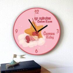 - İyi Uykular Canım Kızım Duvar Saati