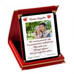- Kadife Kutusunda Resim ve Mesajlı Plaket
