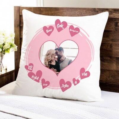 - Kalp Desenli Fotoğraflı Sevgili Yastığı