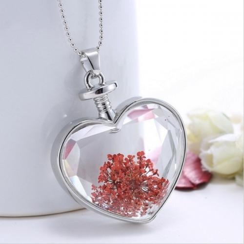 - Kalp Tasarımlı Yaşayan Çiçek Kolye - YK13