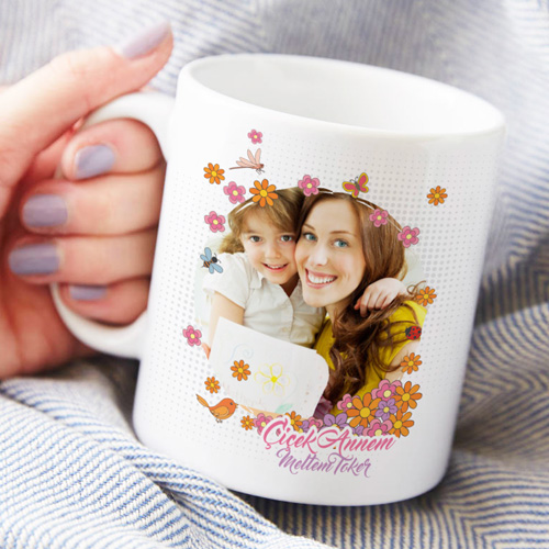 - Kişiye Özel Çiçek Annem Kahve Kupası