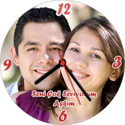 - Kişiye Özel Fotoğraf ve Mesaj Baskılı Duvar Saati