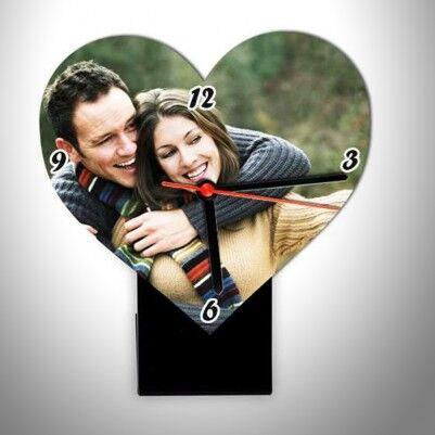 - Kişiye Özel Fotoğraflı Kalp Masa Saati