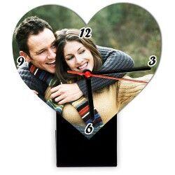 Kişiye Özel Fotoğraflı Kalp Masa Saati - Thumbnail