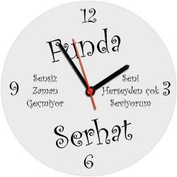 - Kişiye Özel İsim ve Mesaj Yazılı Duvar Saati