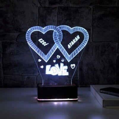- Kişiye Özel Love Temalı 3D Led Lamba