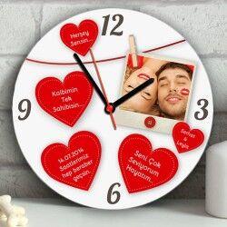 - Kişiye Özel Mesajlı Kalpler Duvar Saati