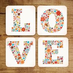 - Love Bardak Altlığı 4'lü Set