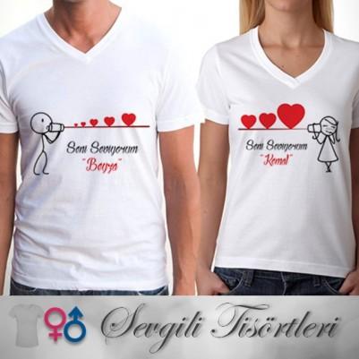 - Seni Seviyorum Çöp Adam Sevgili Tişörtleri