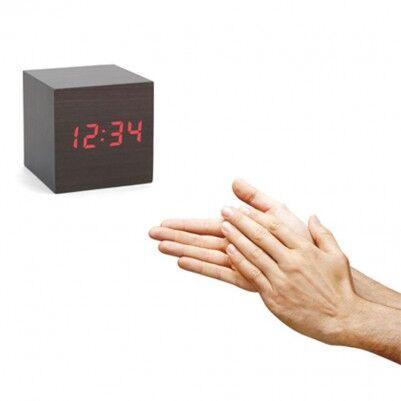 - Sese Duyarlı Alarm Ahşap Küp Saat