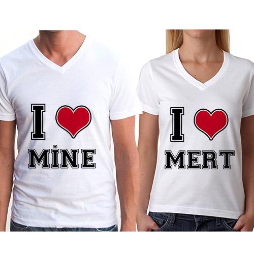 - Sevgili Tişörtleri I Love You