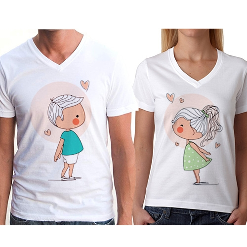 Sevgili Tişörtleri - Öpüşen Romantik Çiftler