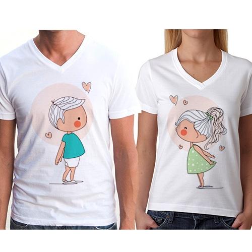 - Sevgili Tişörtleri - Öpüşen Romantik Çiftler