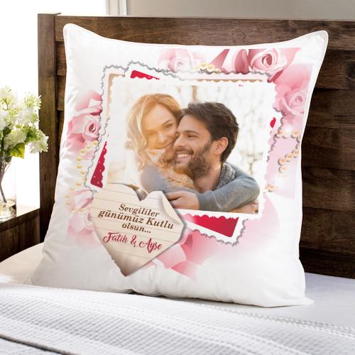 - Sevgililere Özel Fotoğraf Baskılı Kare Yastık