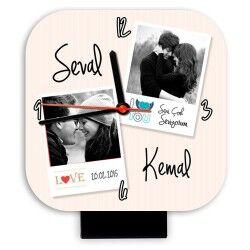 - Sevgililere Özel Fotoğraf ve İsimli Masa Saati