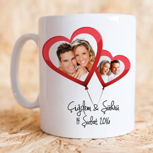 - Sevgililere Özel Uçan Kalp Balon Kupa Bardak