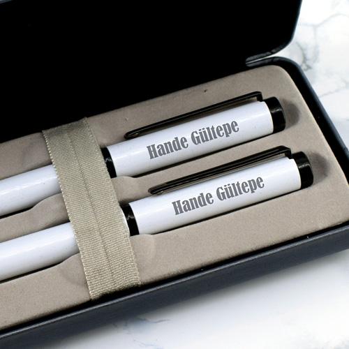 Şık Kutuda İsme Özel 2'li Beyaz Kalem Seti