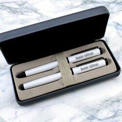Şık Kutuda İsme Özel 2'li Beyaz Kalem Seti - Thumbnail