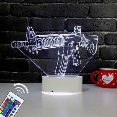 - Silah Tasarımlı 3D LED Saat Lamba