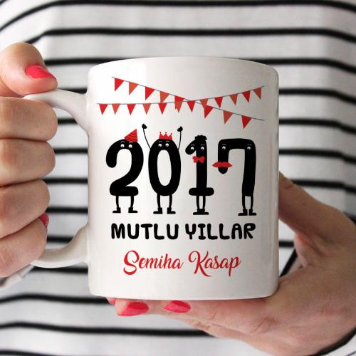 2017 Mutlu Yıllar İsme Özel Kupa Bardak