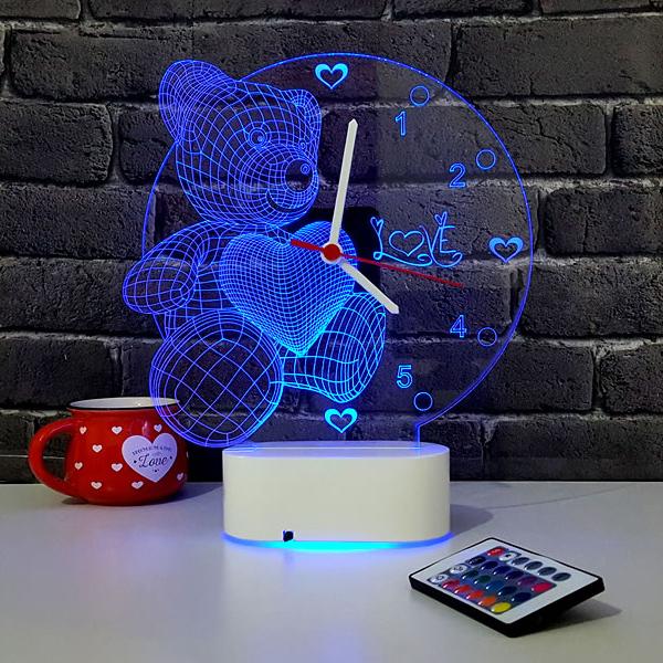 3 Boyutlu Ayıcıklı LED Lamba Saat