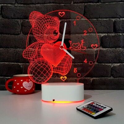 3 Boyutlu Ayıcıklı LED Lamba Saat - Thumbnail