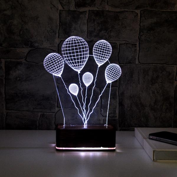 3 Boyutlu Balon Temalı LED Lamba