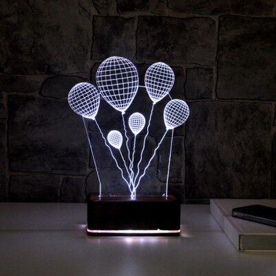 3 Boyutlu Balon Temalı LED Lamba - Thumbnail