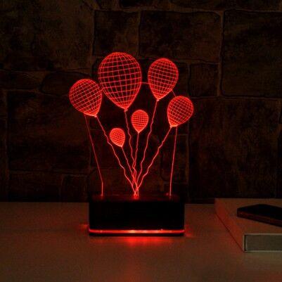 - 3 Boyutlu Balon Temalı LED Lamba