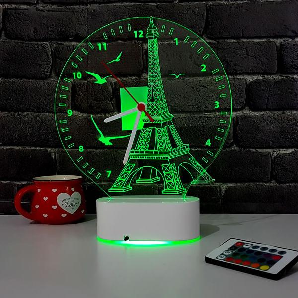 3 Boyutlu Eyfel Kulesi LED Lamba Saat