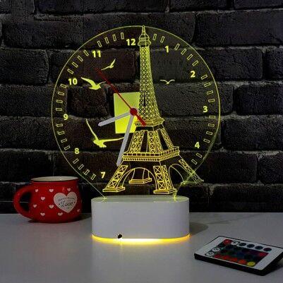 3 Boyutlu Eyfel Kulesi LED Lamba Saat - Thumbnail