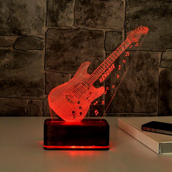3 Boyutlu Gitar Tasarımlı LED Lamba