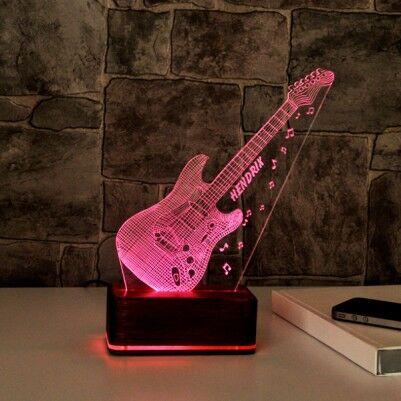 - 3 Boyutlu Gitar Tasarımlı LED Lamba